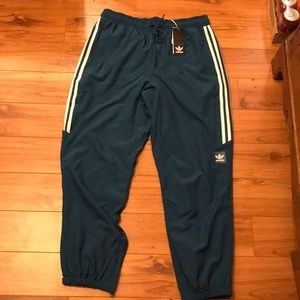 Adidas Men's Classic Wind Pant Teal/White LG NWT